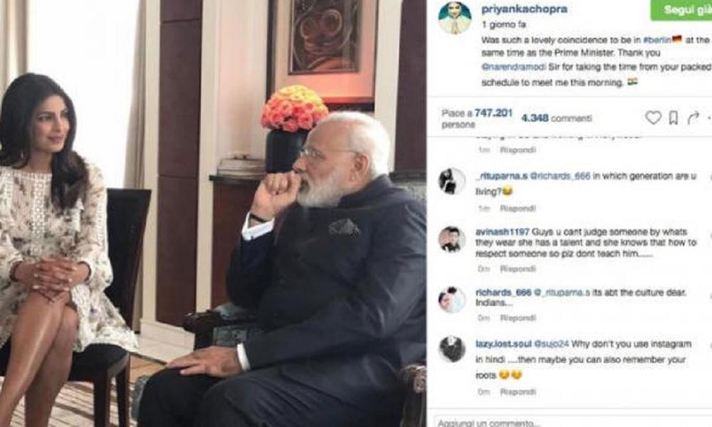 Priyanka Chopra, la star di Bollywood con una gonna all'incontro con Modi. Scoppiano le polemiche