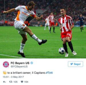 """Addio Francesco Totti, Bayern Monaco e Hertha Berlino: """"Grazie mille"""""""