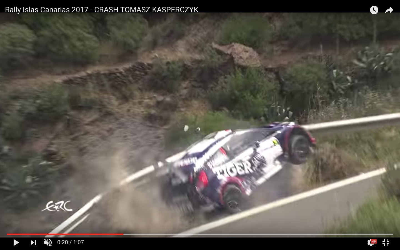 YouTube, rally: guard-rail salva la vita al pilota Tomasz Kasperczyk