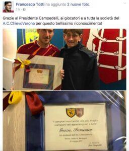 Chievo-Roma, Francesco Totti premiato da Campedelli (FOTO)