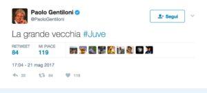"""Paolo Gentiloni, il premier su Twitter: """"La grande vecchia Juve"""""""