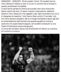 """Buffon: """"Juve, sesto scudetto consecutivo. Scritta storia del calcio"""""""
