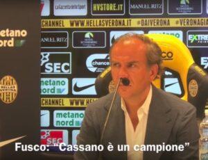 YOUTUBE Calciomercato Verona, Cassano: le dichiarazioni di Fusco