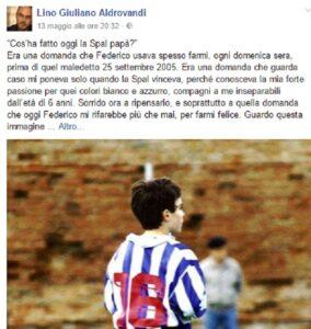 Federico Aldrovandi, la commovente lettera del padre Lino per la promozione della Spal