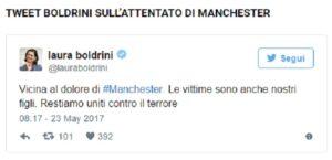 """Attentato Manchester, Laura Boldrini: """"Vicina al dolore"""". Haters la insultano"""