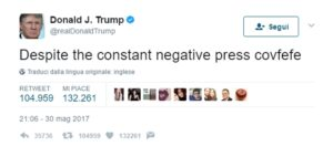 """Donald Trump e il refuso su Twitter: cos'è quel """"covfefe""""? Le ipotesi sul web"""