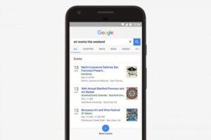 Google, l'app suggerisce eventi nelle vicinanze. Ma per ora solo negli Usa