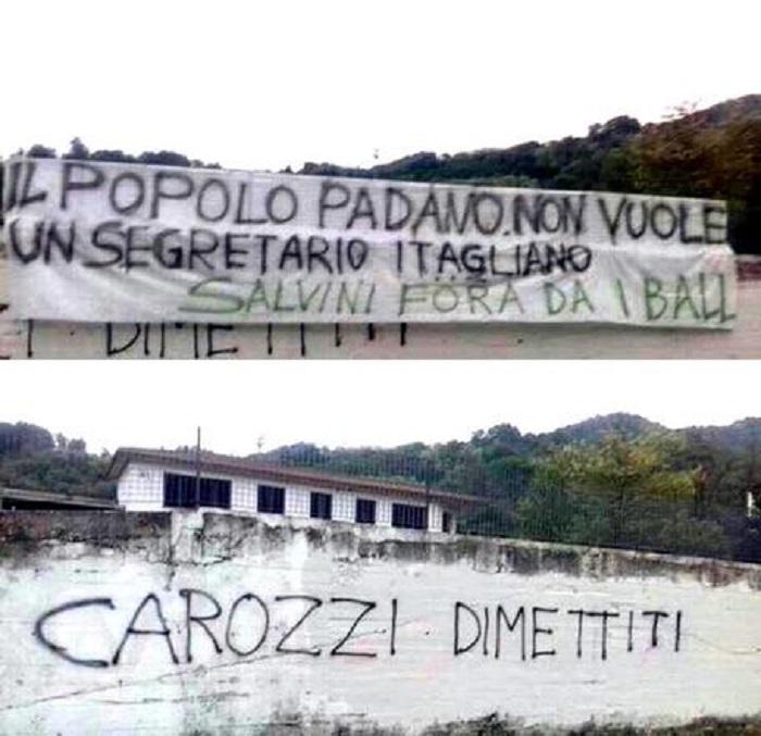 """Pontida, scritte contro Salvini: """"Popolo padano non vuole segretario itagliano"""" FOTO"""