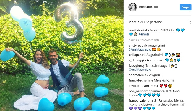 Melita Toniolo incinta di Andrea Viganò, FOTO su Indtagram