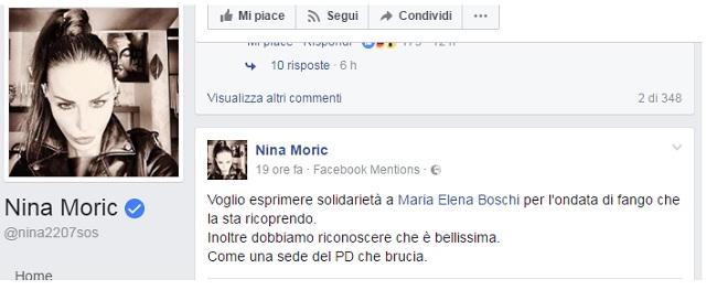 """Nina Moric: """"Maria Elena Boschi bellissima, come una sede del Pd che brucia"""""""