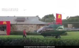Atterra con elicottero sul prato del McDonald's per prendere degli hamburger