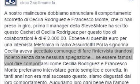 """Cecilia Rodriguez, Radio Free Station: """"Chiesti 2mila euro per intervista, poi è sparita"""""""