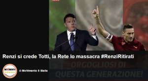 """""""Renzi si crede Francesco Totti"""": il blog di Grillo e gli insulti sul web"""