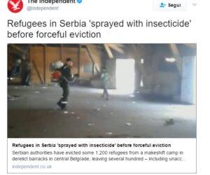 """Serbia: """"Migranti sgomberati con l'insetticida"""" VIDEO Indipendent"""