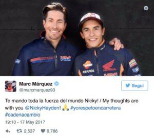 Nicky Hayden: i messaggi di Valentino Rossi, Lorenzo, Marquez