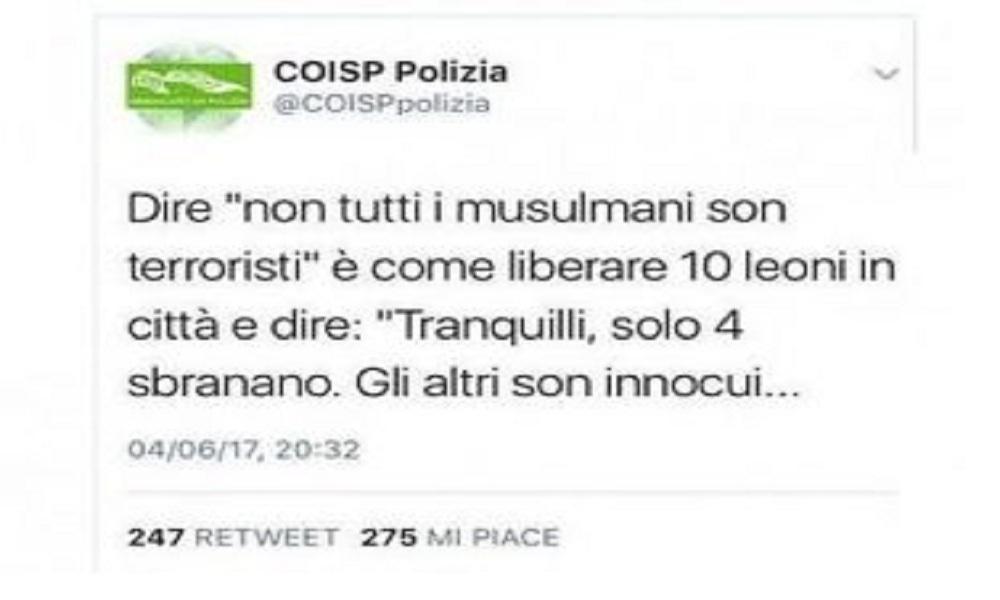 Il sindacato di Polizia Coisp e il tweet contro l'Islam