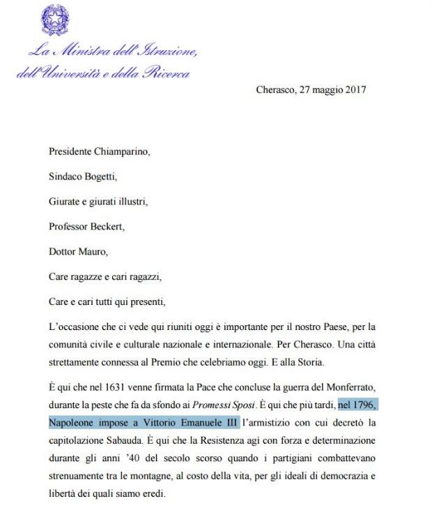 """Valeria Fedeli gaffe: """"Armistizio Napoleone-Vittorio Emanuele III"""". Ma il secondo ancora non era nato..."""