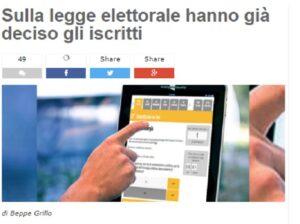 """M5s, Grillo: """"Iscritti hanno detto sì a sistema tedesco. Portavoce rispettino decisione"""""""