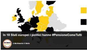 """Blog Beppe Grillo: """"#PensioneComeTutti, in 18 stati Ue politici non hanno vitalizi"""""""