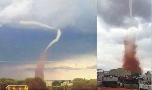 Tornado rosso in Messico: il pauroso spettacolo della natura VIDEO